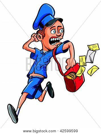 Cartoon postman running