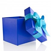 stock photo of fedex  - single gift wrapped present box with blue  - JPG