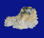 stock photo of pyrite  - quartz pyrite sphalerite isolated on the blue background - JPG