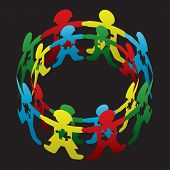 stock photo of child development  - Cut paper doll children circling one another with autism symbolic puzzle pieces - JPG