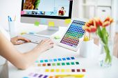 image of fi  - Female designer working with colors - JPG