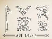 Ornamento de padrão de flor do vector art deco