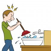 picture of clog  - An image of a man using a plunger on clogged sink - JPG