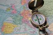 stock photo of gizmo  - A compass on the map of the European continent - JPG