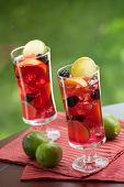 stock photo of sangria  - Closeup of two glass of Red Sangria  - JPG