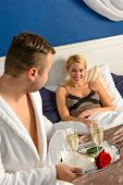 picture of nightgown  - Husband flirting wife bedroom romantic evening celebration sexy nightgown - JPG