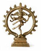 stock photo of vedic  - dancing shiva bronze statue on white background - JPG