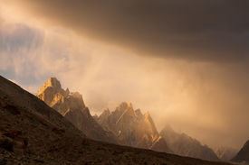 stock photo of skardu  - Trango Towers at Sunset in the Karakorum - JPG