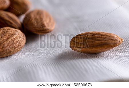 handfull of almonds on a napkin