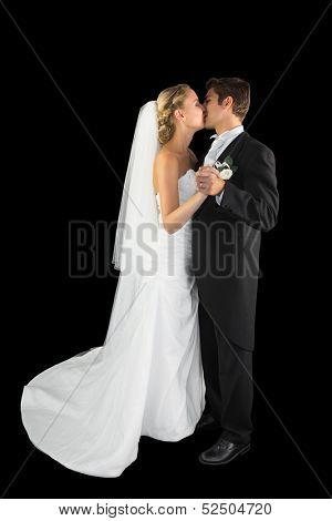 Sweet young married couple dancing viennese waltz kissing each other