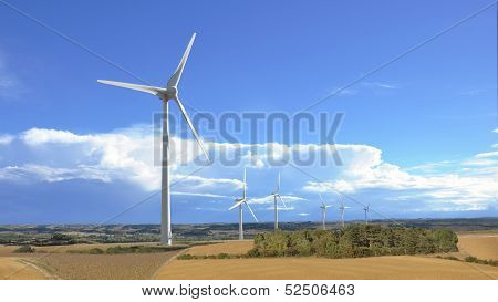 Aeolian Windmill In Rural Landscape Panoramic View