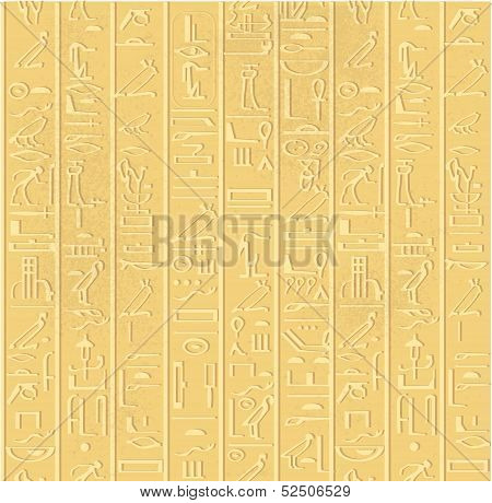 Seamless pattern of Egyptian hieroglyphics