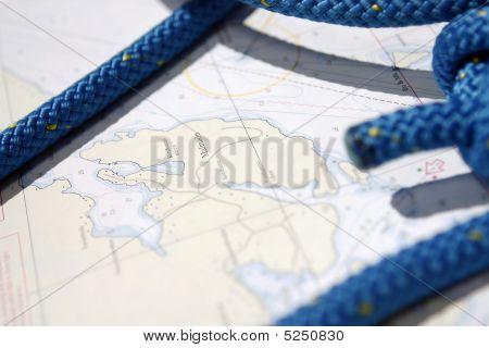 Blue Rope On A Sailingchart