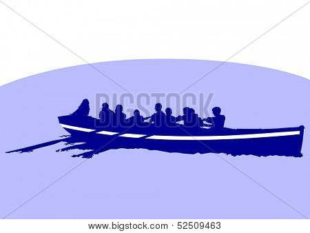 drawing of a boat with oars in the sea