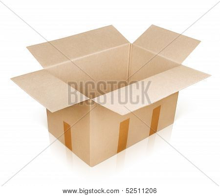 Open Empty Brown Cardboard Box