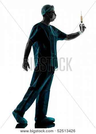one caucasian doctor surgeon Anesthetist man holding surgery needle  silhouette isolated on white background