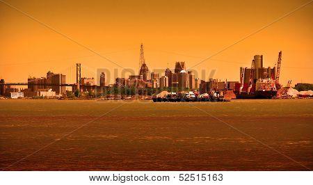 Detroit Skyline On River