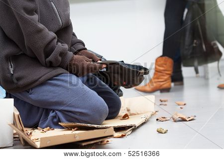 Male Homeless Begging