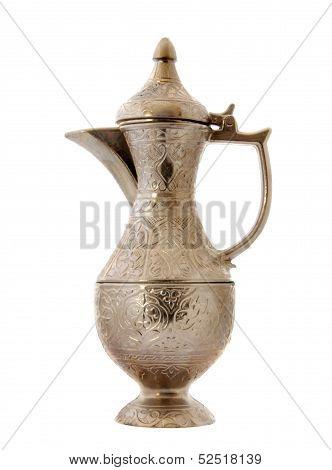 Turkish ottoman style metal pitcher .