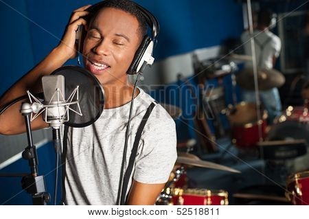 Singer Recording A Track In Studio poster