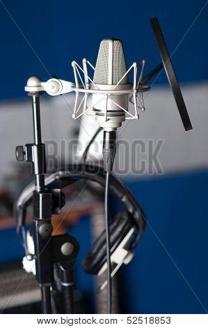 Condenser Microphone, Closeup Shot.