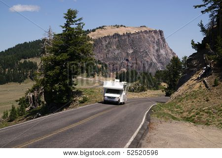 Travel Truck Recreational Vehicle Touring Countryside Two Lane Highway Vacation
