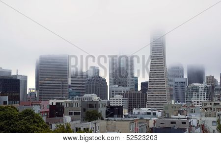 Fog Hangs Heavy Over Office Buildings Downtown San Francisco California