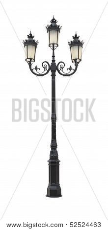 Direct black iron street lantern pole on white background.