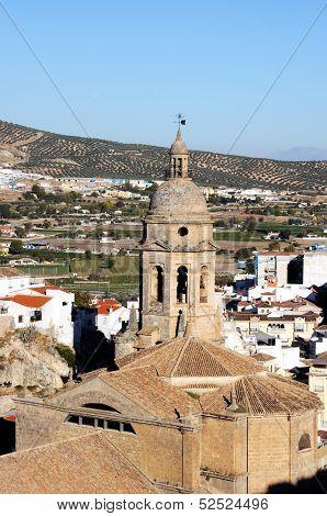 Church in white town, Loca, Spain.