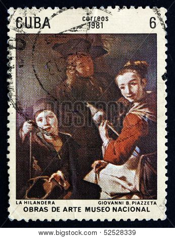 Postage Stamp Cuba 1981 The Spinner, By Giovanni Battista Piazze