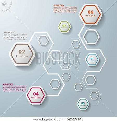 Colorful Abstract Connections Hexagons Infographic 6 Options