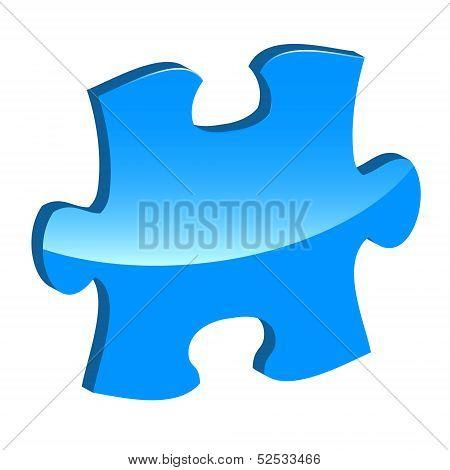 Blue puzzle 3d pie vector icon