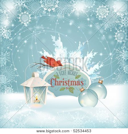Xmas Bird Lantern Christmas Balls Background