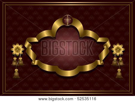 Golden frame with cross