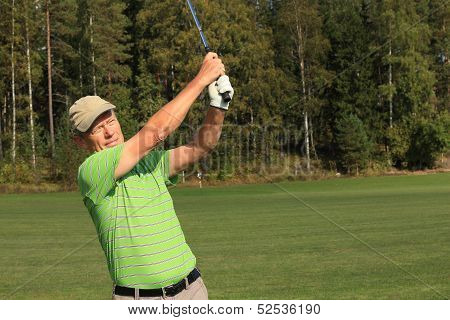 Golf Swing On A Practice Cource