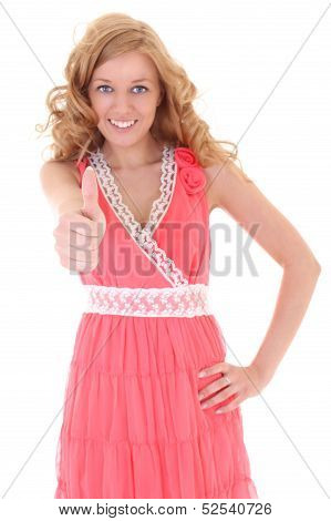 Happy Woman In Pink Dress Showing Thump Up