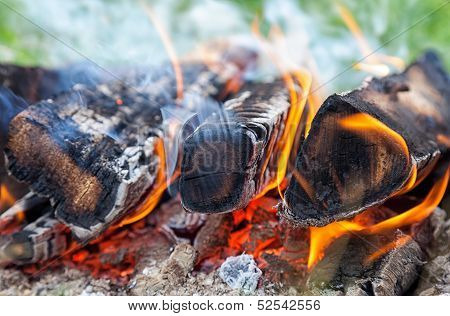 Closeup Of A Warm Fire Burning In A Campfire