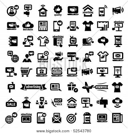big advertising icons set