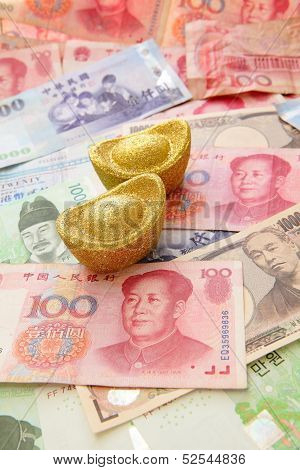 Golden Coins And Background Of Asian Currency