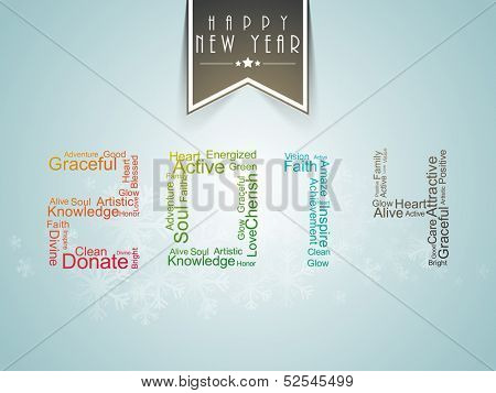 Happy New Year 2014 celebration party poster, banner or flyer design with colorful text on green background.