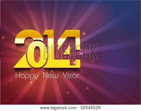 Happy New Year 2014 celebration party poster, banner or invitations with golden stylize text 2014 on purple background.