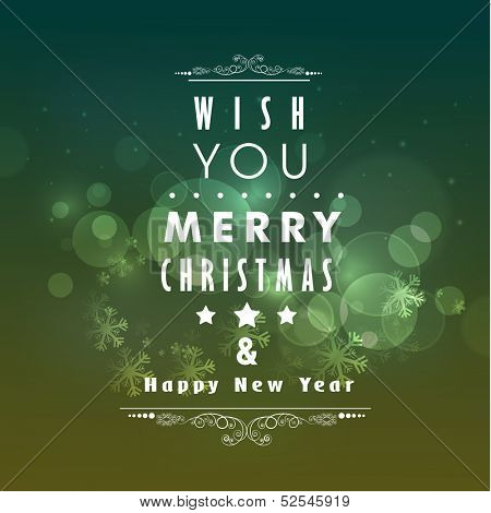 Merry Christmas and Happy New Year celebration party poster, banner or flyer on snowflakes decorated background