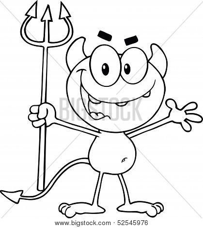 Black and White Cute Little Devil Holding Up A Pitchfork