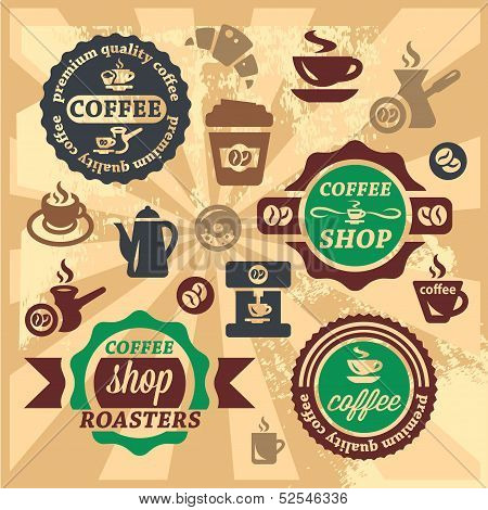 coffee labels and icons