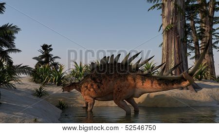 kentrosaurus walking in water