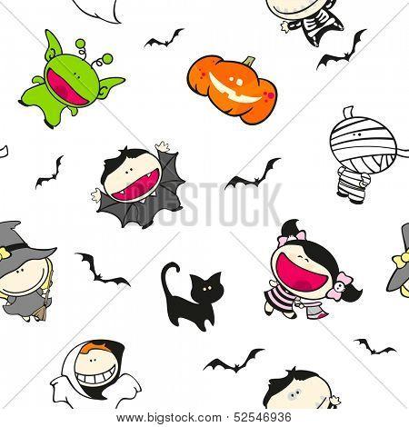 Seamless Halloween pattern (raster version)