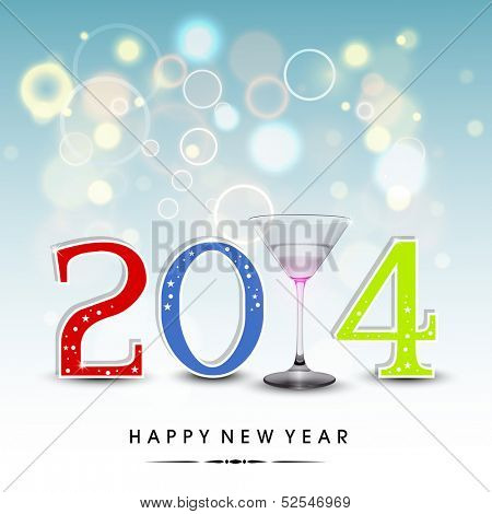 Happy New Year 2014 celebration party, poster or banner with colorful text, wine glass on shiny blue background.