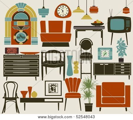 Retro Furniture, Accessories and Appliances, including diner-style settee, jukebox, TV set, wall and alarm clocks, and pub chairs, dining, coffee tables and various accessories