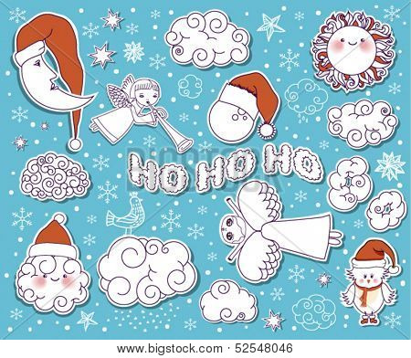 Doodle Christmas Sky - Christmas sky and weather forecast design elements, including angels, Santa clouds, sun, moon, birds and snowflakes