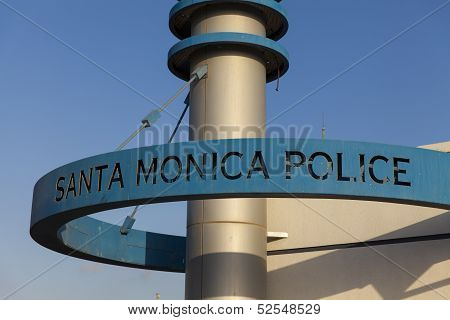 The Santa Monica Police Sign, Ca On October 03, 2013